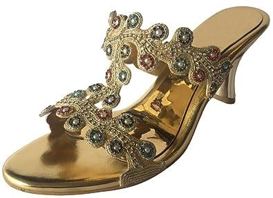 Schritt N Style Damen Sexy Glitzer Ferse Plattform Partei Schuhe jutti Ethnic Khussa Schuhe, Gold Multi - Größe: 39 1/3 Step n Style