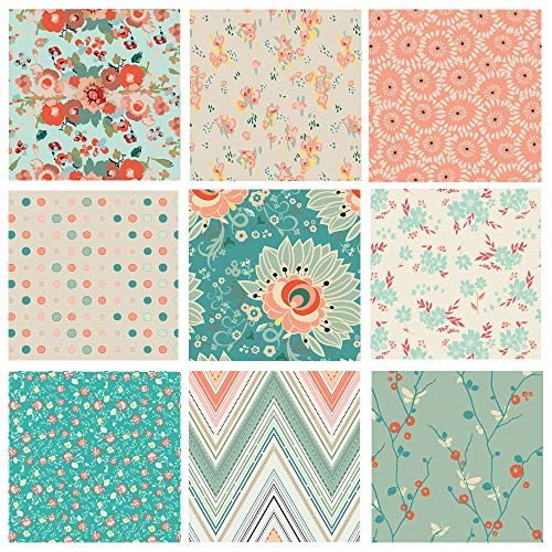 (Boho Floral Quilting Bundle | Teal, Peach and Red Fat Quarters with Flowers | Rapture by Pat Bravo for Art Gallery Fabrics | Modern Floral Fabric (Fat)