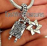 EWT Bat Mitzvah gift Hebrew, Jewish Torah, Chai, Hamsa Hand of protection, Judaica Israel Jewish star of david Jewelry charm Pendant -Fits all DIY charm bracelets & any chain necklace