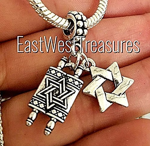 EWT Bat Mitzvah gift Hebrew, Jewish Torah, Chai, Hamsa Hand of protection, Judaica Israel Jewish star of david Jewelry charm Pendant -Fits all DIY charm bracelets & any chain necklace by EastWest Treasures