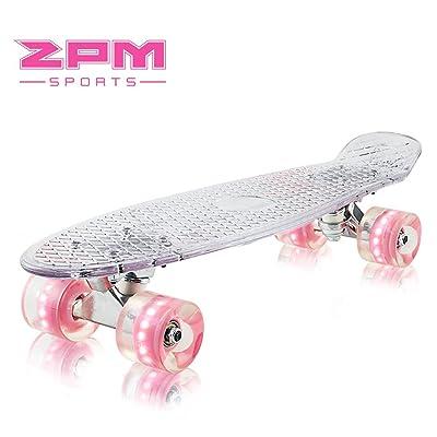 2pm Sports Paco Mini Cruiser Rétro Skateboard Complet Vintage Plastique Planche avec LED Lumineuses Roues