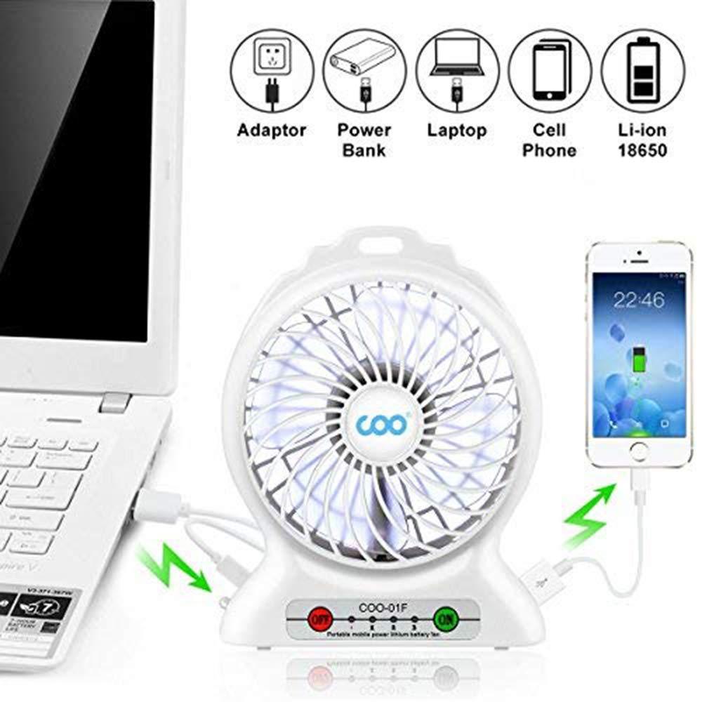 Mini Ventilateur de Table USB Ventilateur de Poche avec Batterie et LED Light 3 Vitesses Fan Multifonction Poche Compatible pour Ordinateur Portable Voyage Office Maison White