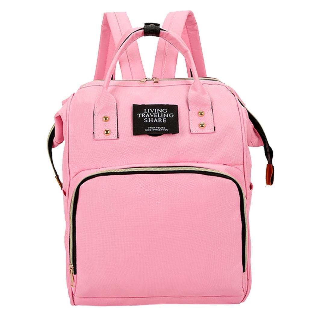 Diaper Bag Backpack Women Large Capacity School Bags Laptop Travel Nappy Bags (Pink)