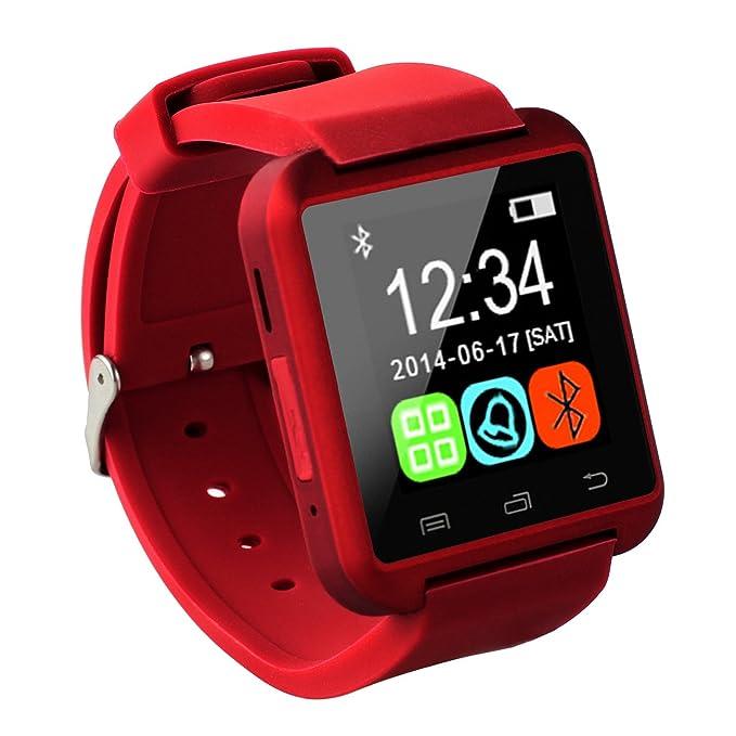 Tera - Smartwatch U8 Pulsera con Pantalla Táctil Selfie Anti Perderse con Bluetooth conectable con Smartphone de iPhone o Android en Negro, Blanco, ...