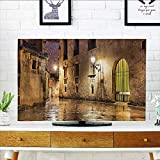 quarter round cord cover - L-QN Cord Cover for Wall Mounted tv eGothic Ancient Ste Quarter of Barcela Spain Renaissance Heritage Gothic Night Cover Mounted tv W35 x H55 INCH/TV 60