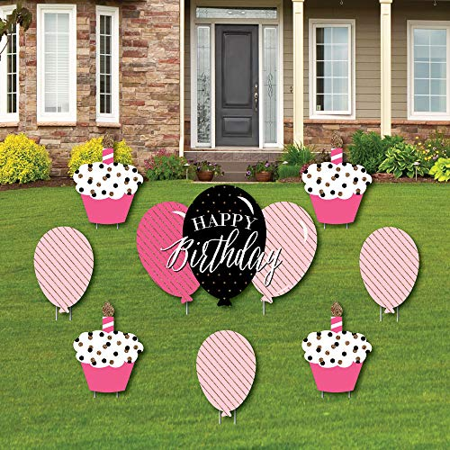 Chic Happy Birthday - Pink, Black and Gold - Yard Sign & Outdoor Lawn Decorations - Birthday Party Yard Signs - Set of 8