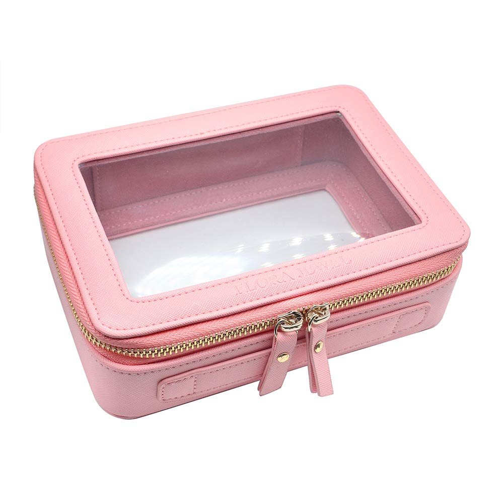Clear Makeup Bag Pink Leather Cosmetic Bag with Dual Round Zipper, Transparent Pink Cosmetic Bag for Travel Makeup Beauty Organizer