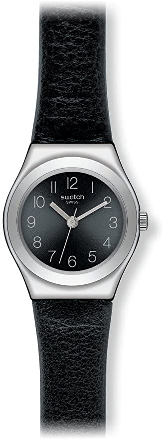 Amazon.com: Swatch Smoothly Black-Tone Dial SS Leather Quartz Ladies Watch YSS268: Swatch: Watches