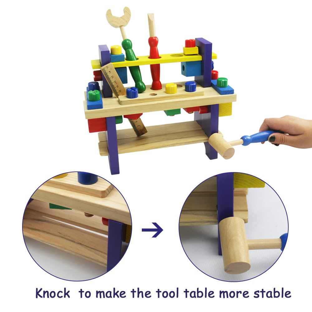 Wooden Toys Wooden Tool Kit Workbench with Hammer Toy Educational Toys Construction Toys for Age 3