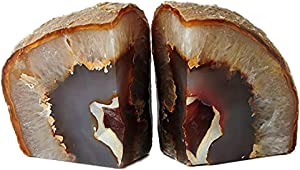 AMOYSTONE Agate Book Ends Decorative Geode Bookend for Shelf Decor Nature Brown with Rubber Bumpers(1 Pair, 4-6 LBS)