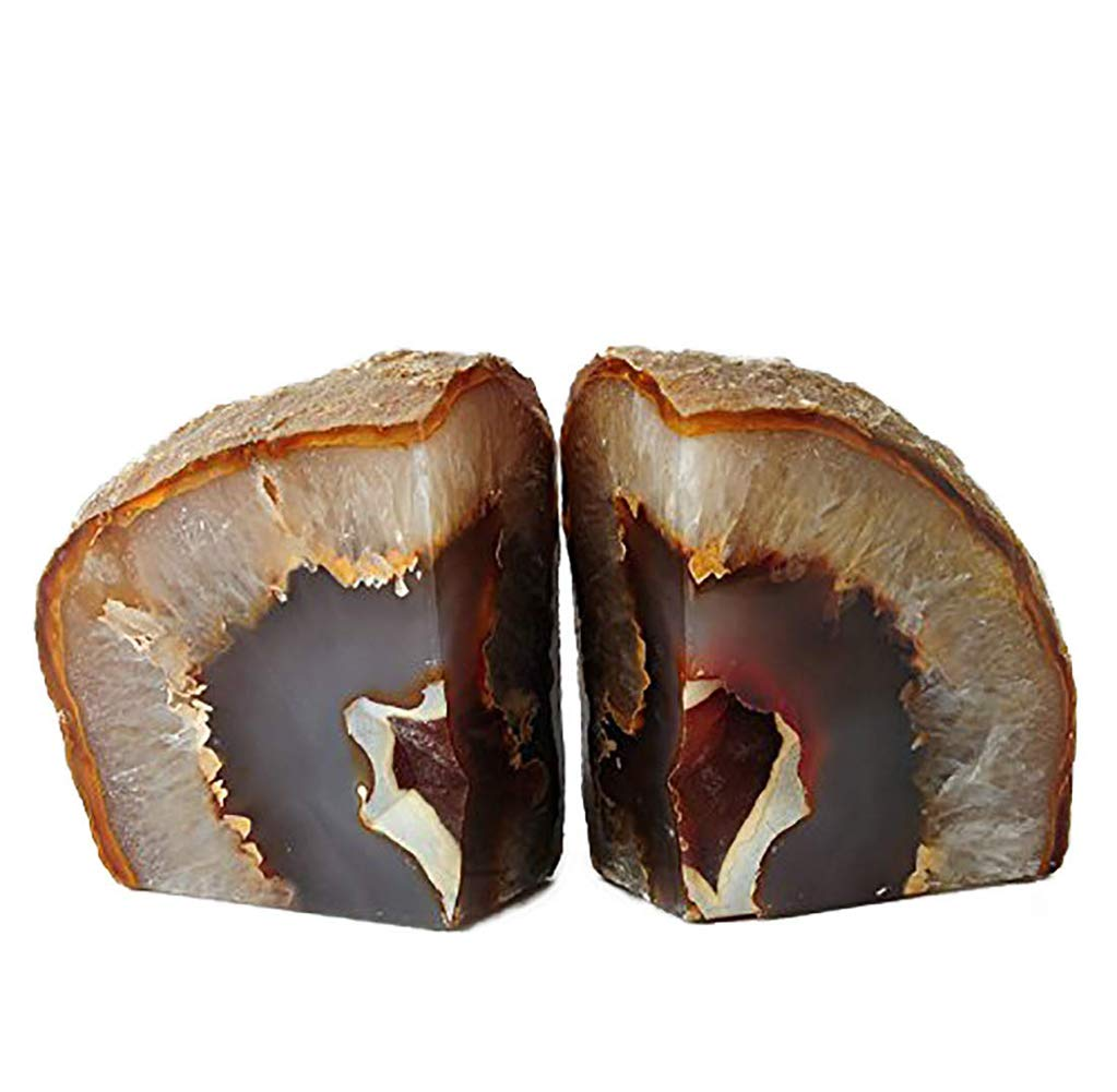 AMOYSTONE Agate Bookends Stone Heavy Duty Book Ends Decor for Shelf Nature Brown with Rubber Bumper(1 Pair, 3-4 LBS) by AMOYSTONE