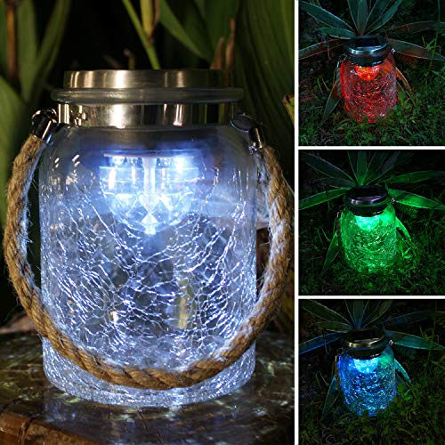 Lantern Crackle (Jar Solar Lights Outdoor Decorative, Clear Crackle Glass Solar Jar for Hanging or Table, 4 PCS LEDs Rotating Function, White or RGB Color Changing Lighting (6.1'' Tall))
