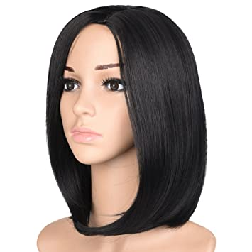 Amazon.com   Finico Short Bob Wig 14 inch Black middle hair 437d8be3b4ac