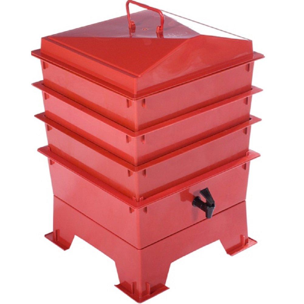 Tiger Rainbow Standard-Kompostbehälter in Teracotta mit 3 x stapelbaren Kästen Original Organics