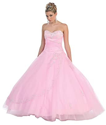 Amazon.com: US Fairytailes Ball Gown Formal Prom Strapless Wedding ...