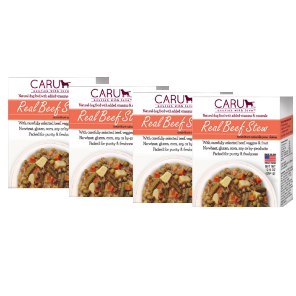 Caru – Real Beef Stews for Dogs, Natural Adult Wet Dog Food with Added Vitamins and Minerals, Free from Grain, Wheat and Gluen 12.5 Ounce, Pack of 4