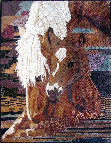 "Mozaico 16x24"" Horse Marble Mosaic Stone Tile Wall Or Floor"
