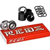 Bones Super Reds Bearings, 8 Pack set With FREE Bones Spacers & Speed Washers