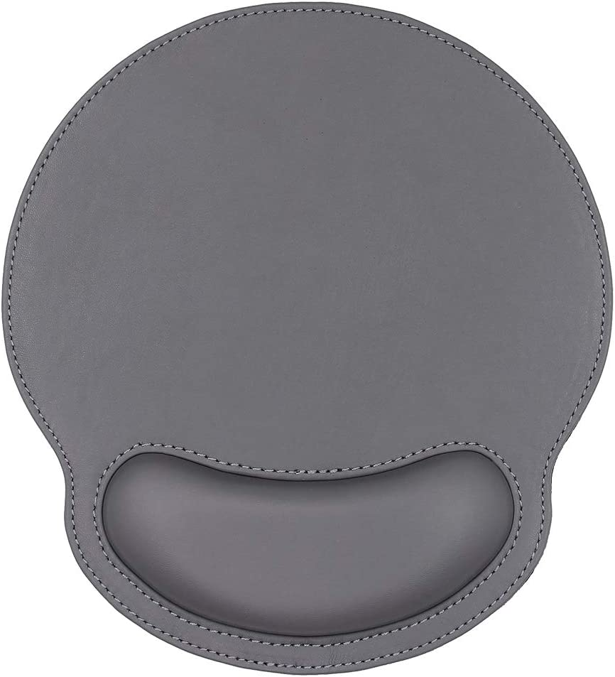 Ergonomic Leather Mouse Pad with Wrist Rest Support,Comfort Memory Foam,Waterproof Surface,Non- Slip Rubber Base for Computer Laptop & Mac,Lightweight Rest for Home,Office & Travel (Deep Grey)