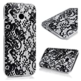 HTC One M8 Case, YOKIRIN Black Lace Pattern Full Edge Protective Hybrid Soft TPU Case Rubber Lightweight Ultra Slim-Fit Texture Silicone [Shock Absorption] Skin Cover for HTC One M8