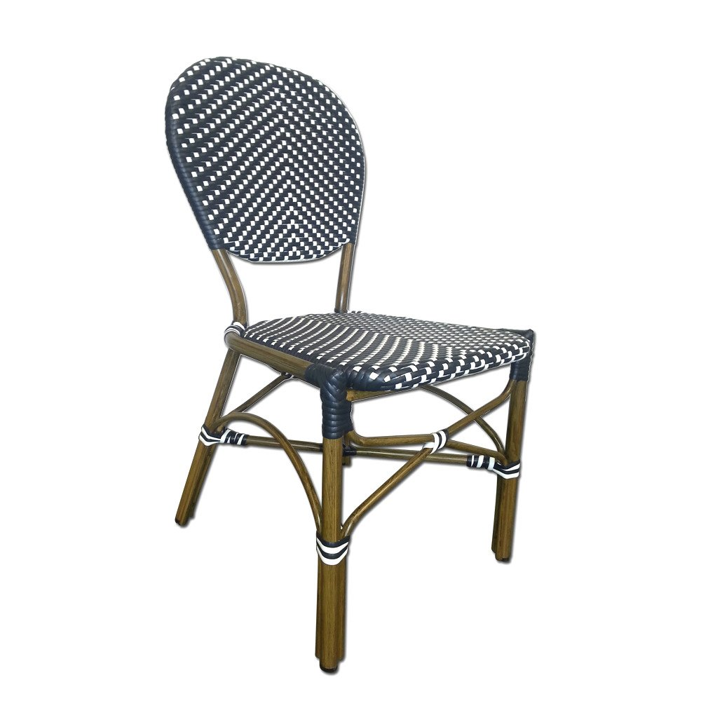 Table in a Bag CBCBBW All-Weather Wicker French Caf Bistro Chair with Aluminum Frame, Black White