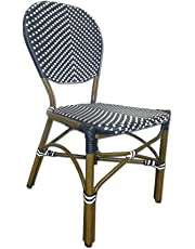Table in a Bag All-Weather Wicker French Café Bistro Chair with Aluminum Frame, Navy/White