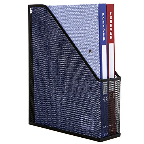 MyGift Metal Mesh Magazine Holder, Desktop File Storage Organizer Rack, Black (Folder Holder Mesh)
