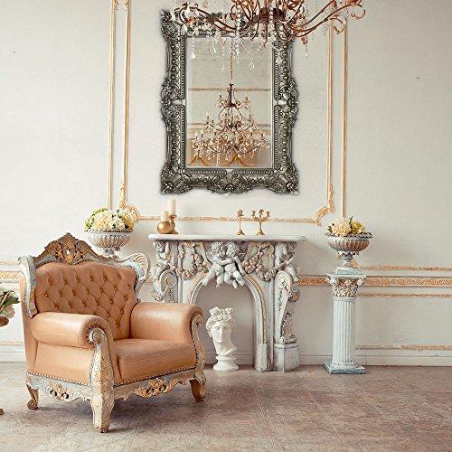"Hamilton Hills Large Ornate Antique Silver Baroque Frame Mirror | Aged Luxury | Elegant Rectangle Wall Piece | Vanity, Bedroom, or Bathroom | Hangs Horizontal or Vertical | 100% (30"" x 40"")"
