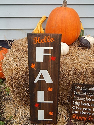 Amazoncom Hello Fall With Leaf Clipart Painted Wood Indoor