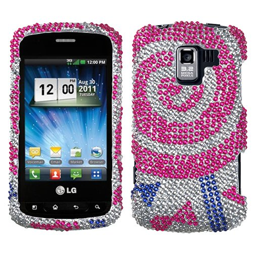 Asmyna LGVS700HPCDM338NP Luxurious Dazzling Diamante Case for LG: VS700 (Enlighten/ Gelato  Q), VM701 (Optimus Slider), LS700 (Optimus Slider)  - 1 Pack - Retail Packaging - Sugar Rush Lollipop