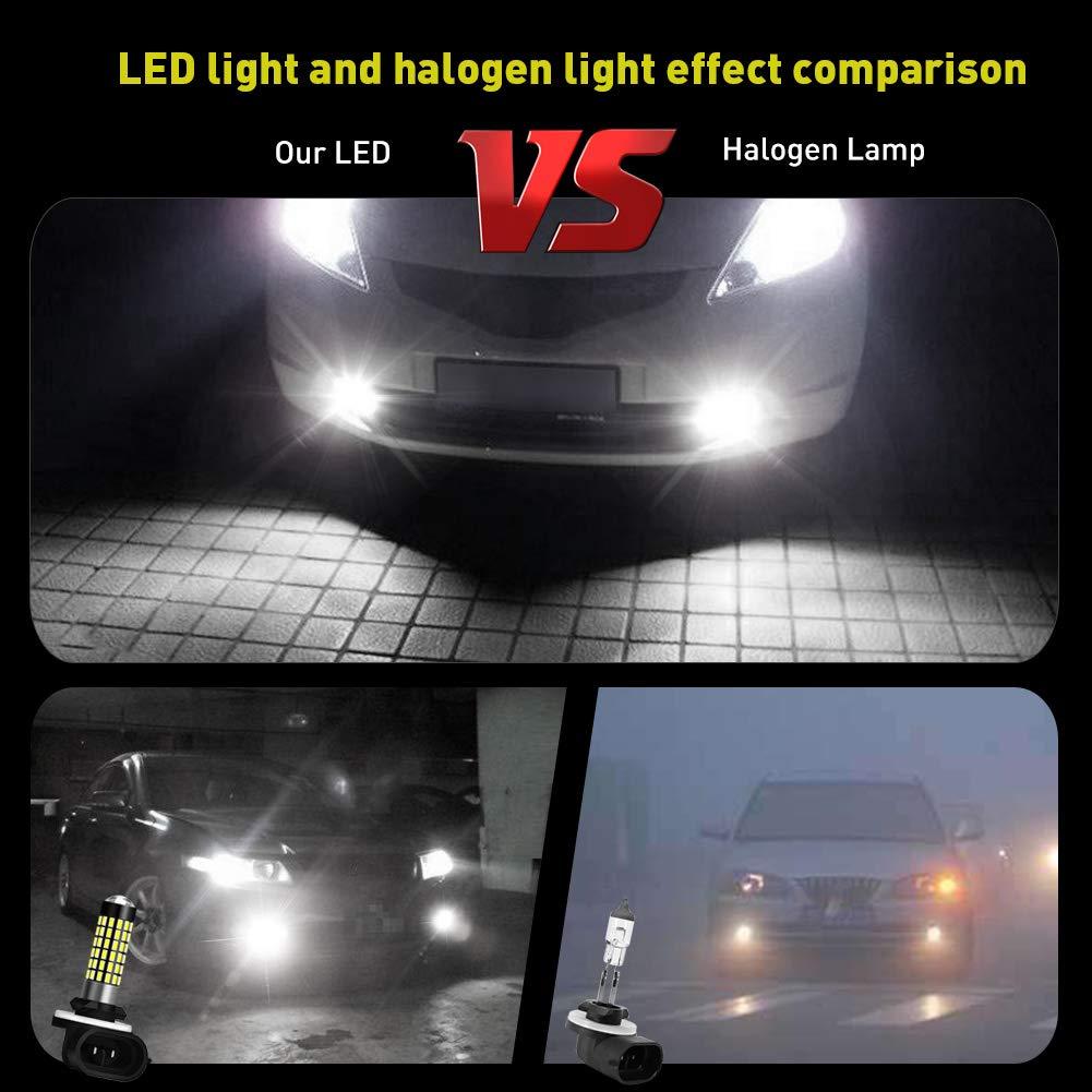 NATGIC 2PCS 880 H27 Fog Light bulb 900LM3014SMD 78-EX Chipsets 880 892 LED Bulbs with Lens Projector Used for Fog Light Lamp,Xenon White 6500K,12-24V 4W