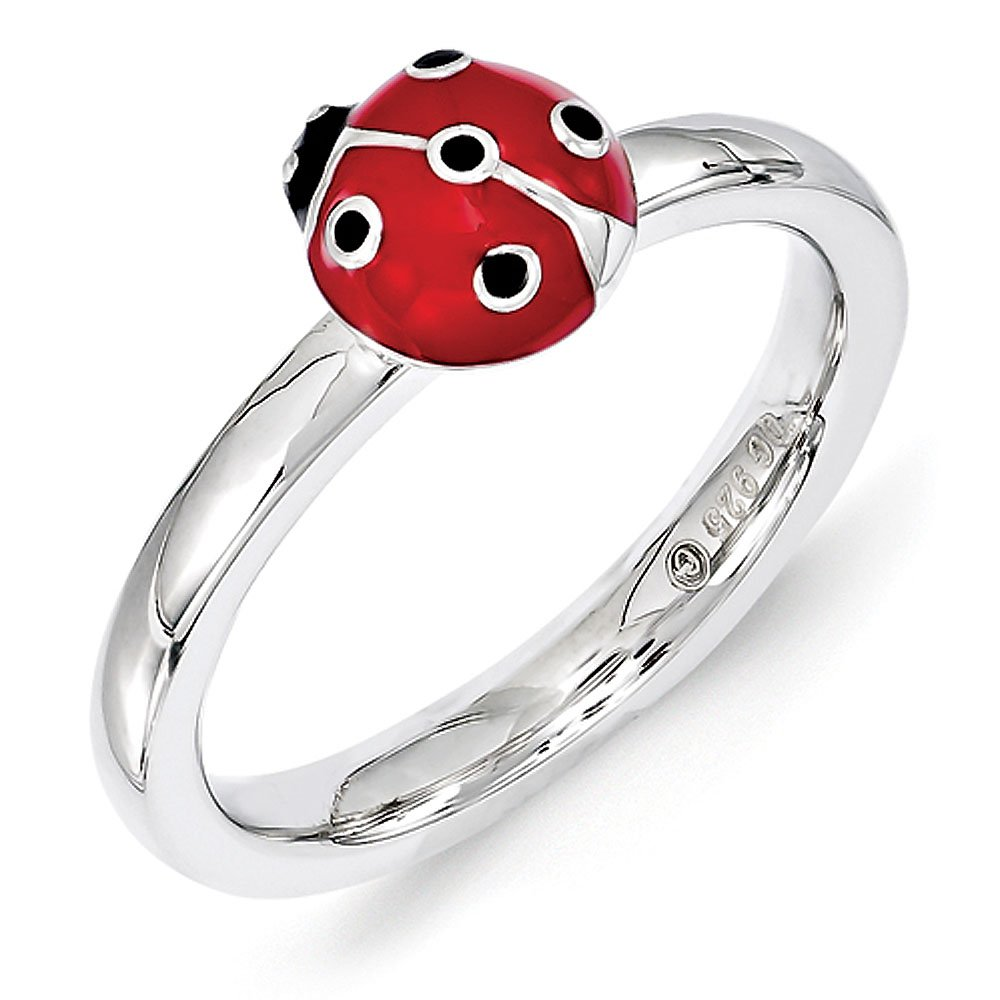 2.25mm Sterling Silver Enameled Red/Black Lady Bug Anniversary Ring Band - Size 7