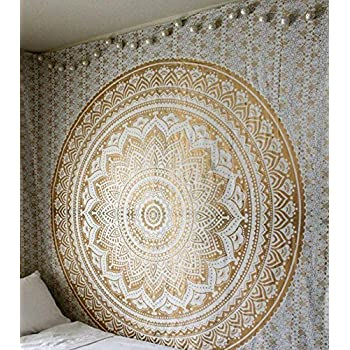 Jaipur handloom Twin Golden Ombre Tapestry wall hanging Gold tapestry Dorm Decor Mandala Tapestry Metallic Hippy Wall Art Psychedeic Hippie Wall Hanging Bohemian Bedspread 54X84 inches gold