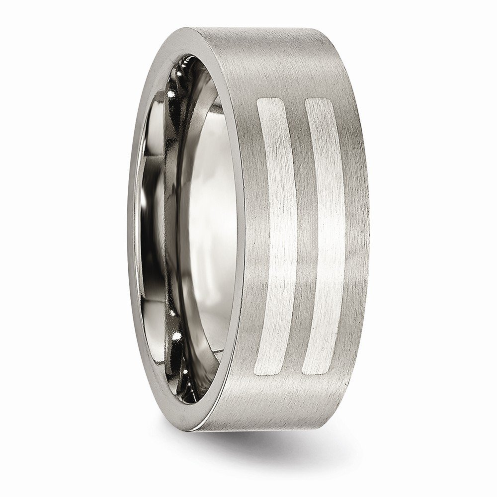 Jewels By Lux Titanium Flat 8mm Sterling Silver Inlay Brushed Band