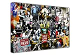 LARGE BANKSY PRINT CANVAS COLLAGE PRINTS MIX GRAFFITI BEST OF BANKSY COLLECTION WALL ART LANDSCAPE NEW AGE ART - PHOTO PRINT PICTURE GREAT DECORATION FOR THE HOME