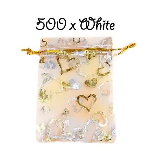 Blanco Cordón Diseño de corazones Organza Pouches Bolsas de ...