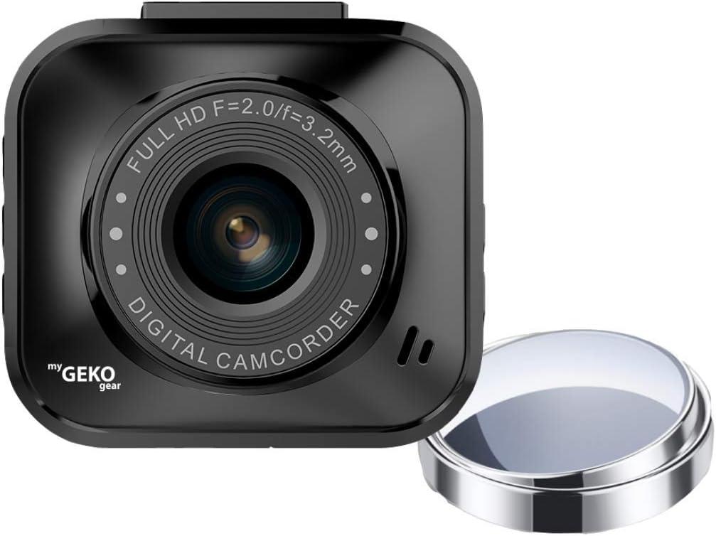 myGEKOgear Dash Cam 1080P FHD Car Camera Car DVR Night Vision Driving Recorder Wide Angle, G-Sensor, Loop Recording, Motion Sensor Camera 2 Blindspot Adjustable Rearview Mirror & Memory Card Included