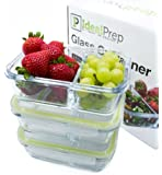 Glass Meal Prep Food Storage Containers – 2 Compartment Container Set - Stackable, BPA Free, Microwavable, Portion Control Container for Hot or Frozen Food with Snap Lock Design - 3 Pack, Small
