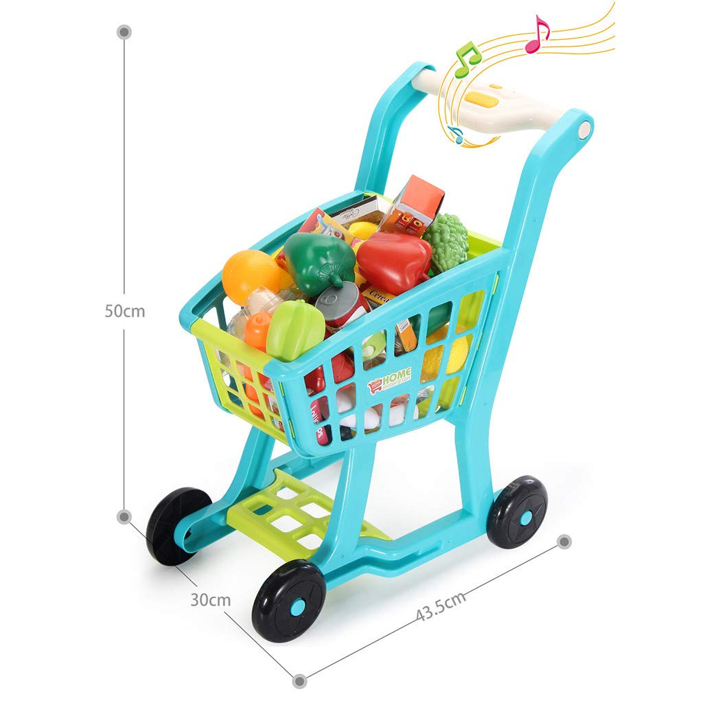 Besde Toys Children's Shopping Cart Toy Pretend Play Toy, Simulation Supermarket Toy with Groceries, Mini Shopping Cart with Full Grocery Food Toy Playset Educational Gift for Girls Kids (Blue) by Besde Toys (Image #9)