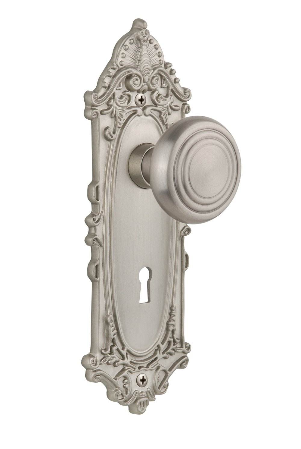 Unlacquered Brass Nostalgic Warehouse Victorian Plate with Keyhole Deco Knob Mortise