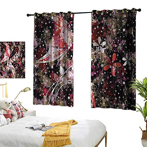 (Warm Family Floral Insulated Sunshade Curtain Butterflies Leaves Flowers for Living, Dining, Bedroom (Pair) 55