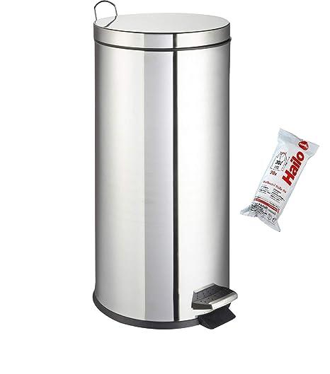 Hailo Cubo de Basura Cromado, 30 litros + Bolsas: Amazon.es ...