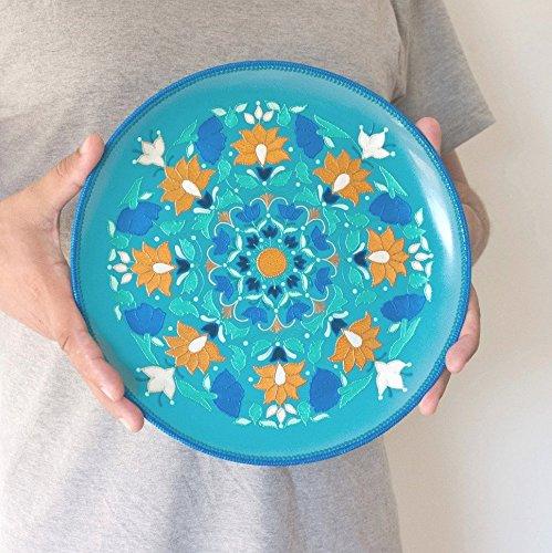 Turquoise decorative plate Oriental decor Floral plates Hand painted & Amazon.com: Turquoise decorative plate Oriental decor Floral ...