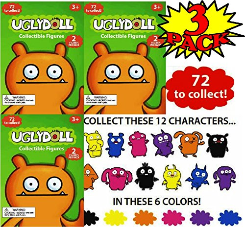 Uglydoll Collectible Figures Mystery Blind Bags (2 Figures Per Pack) Gift Set Party Bundle - 3 Pack (6 Figures Total)