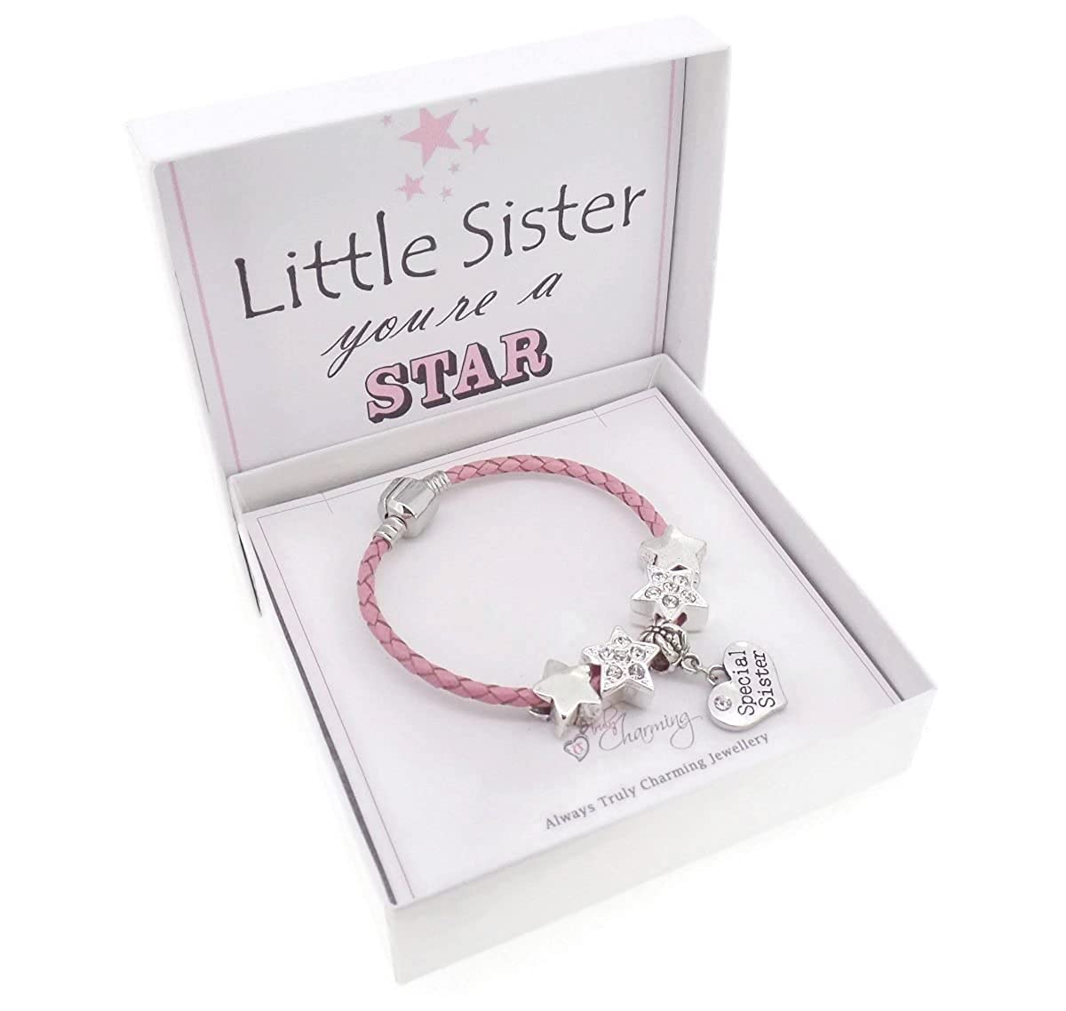 Little Sister You're a Star Pink Leather Charm Bracelet Gift Boxed 17cm Truly Charming 4039 17cm