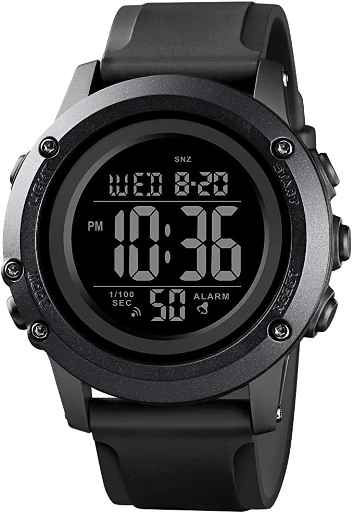 Men's Digital Sports Watch Large Face Waterproof Wrist Watche