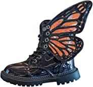 QBQCBB Kids Baby Girls Butterfly Wings Detachable Wram Flat Boots Zip Short Boots Shoes for Children