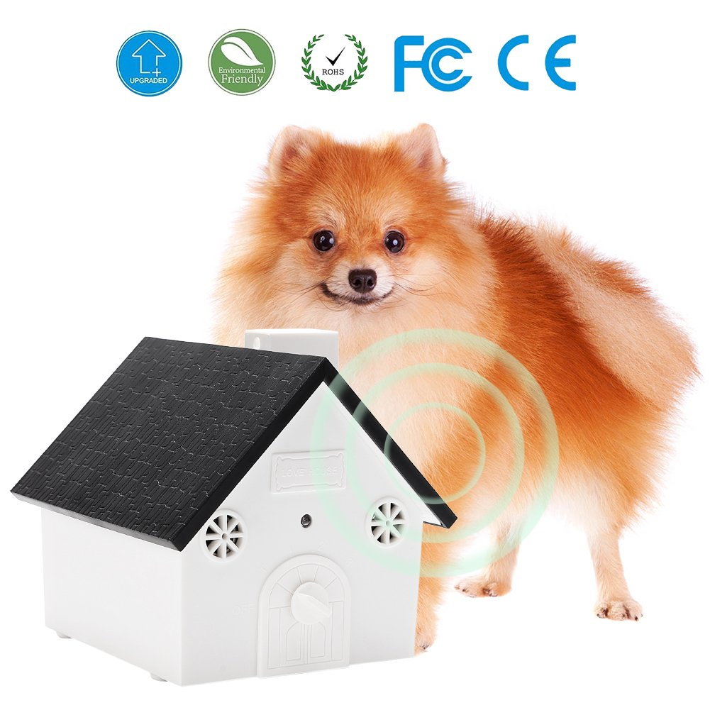 Ultrasonic Anti Barking Device Sonic Bark Control Deterrents Stop Dog Barking, Safe for Dogs, Pets and Human, Outdoor Birdhouse Shape up to 50 Feet Range, Hanging or Mounting