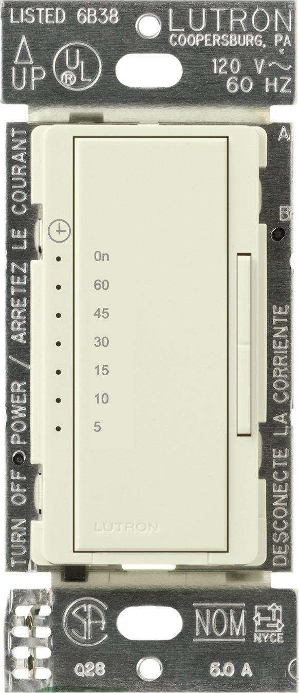 Lutron MA-T51MN-BI Maestro 600-Watt 3-Amp Multi-Location Digital Countdown Timer Control Switch, Biscuit