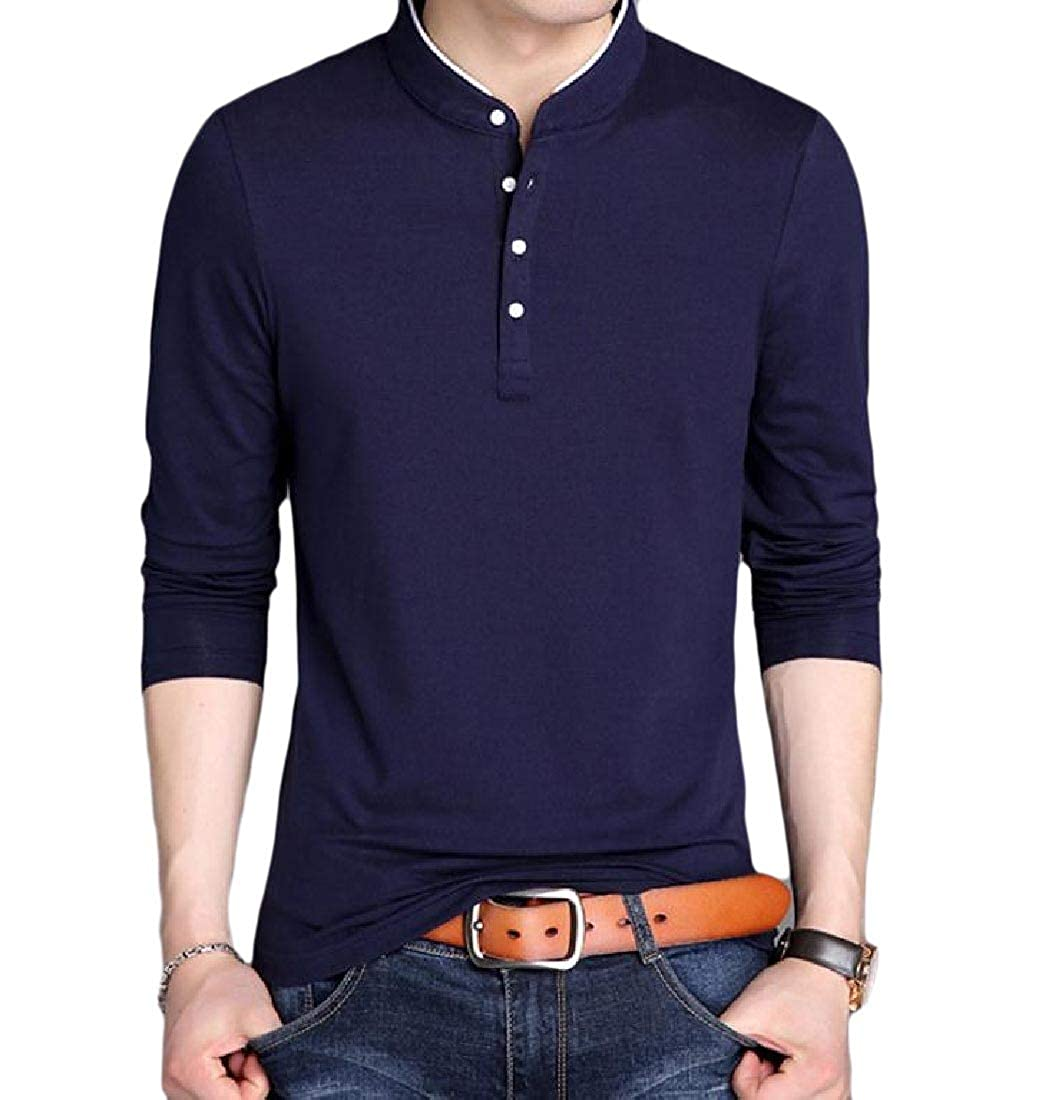 YUNY Men Solid Thickened Warm Slim Stand Up Collar Long Sleeve Tees Navy Blue S